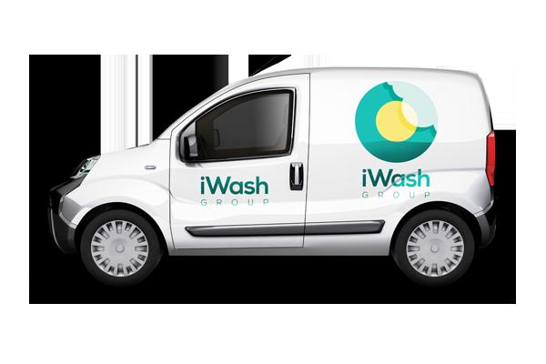 Van with iWash branding